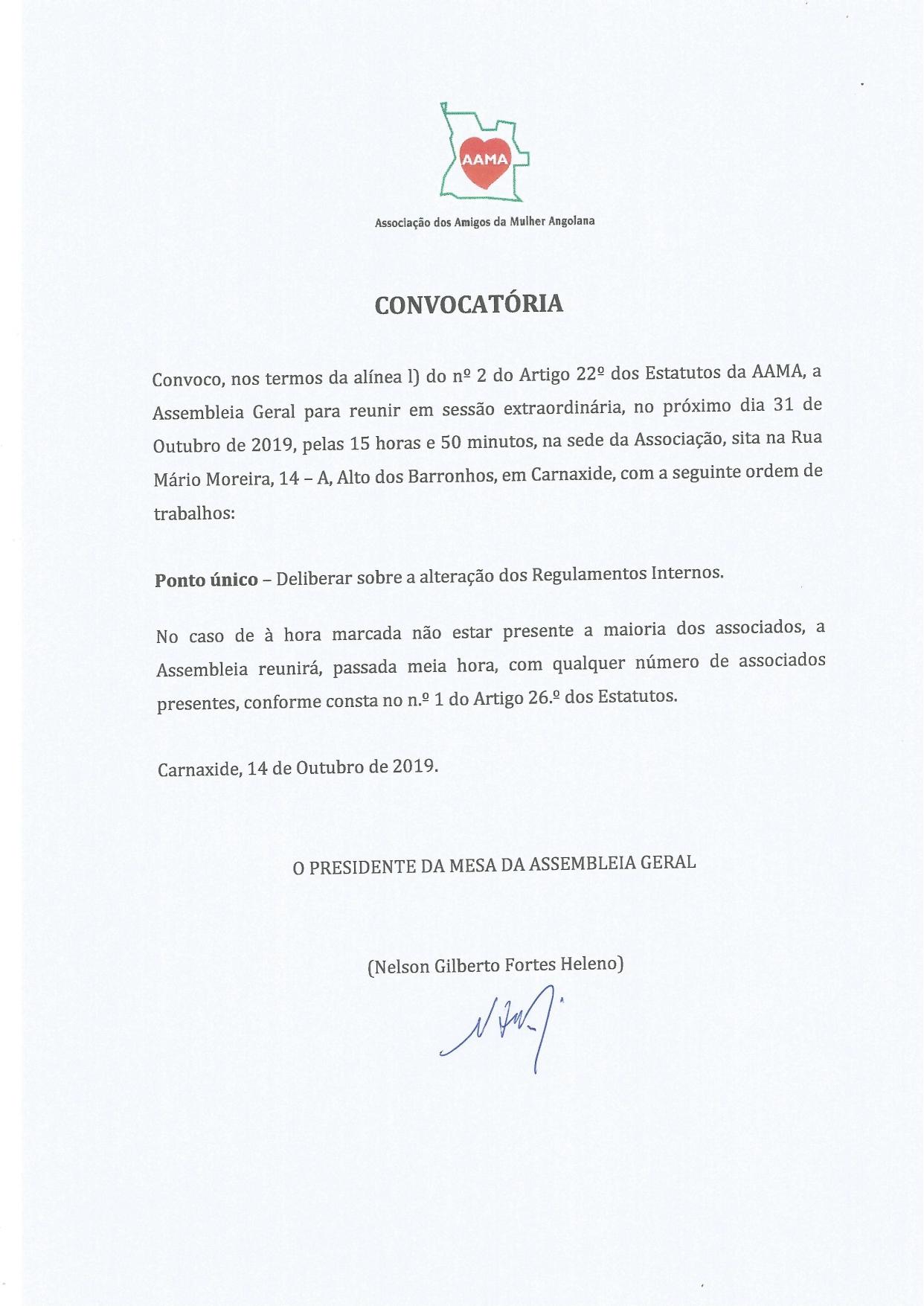 You are currently viewing Convocatória – Alteração dos Regulamentos